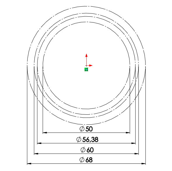 Dle vypočítaných hodnot okótujte průměry konstrukčních kružnic: 50 mm, 56,38 mm, 60 mm, 68mm