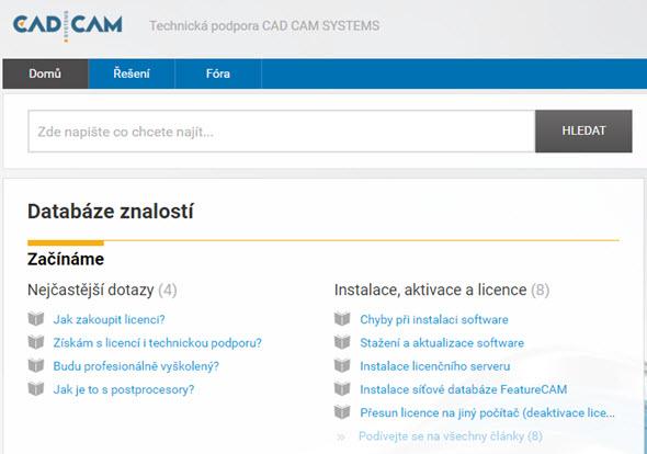 Původní server s technickou podporou a fórem nahradil moderní plnohodnotný portál s fórem a znalostní databází. Obrázek: CAD CAM Systems