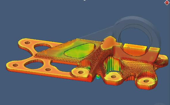 Simulace procesu 3D tisku kovů vřešení Simufact Additive. Obrázek: Simufact Additive