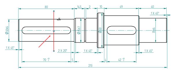 Klikněte na model a nakreslete rovinu řezu (svislou čáru) vmístě, kde leží drážky pro pero
