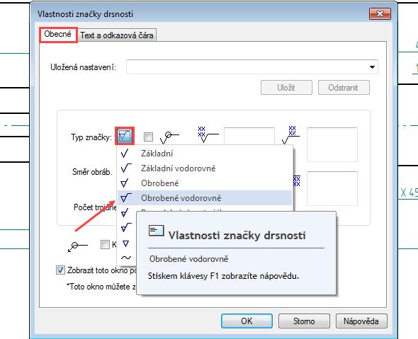 Otevře se dialogové okno a vyberte Typ značky na záložce Obecné → Obrobené vodorovně