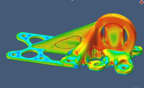 Simulace zbytkových napětí po dokončení stavby. Obrázek: Simufact Additive