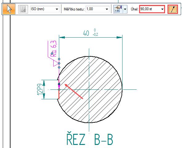 Klikněte na plochu, ke které se značka opracování povrchu vztahuje. VPlovoucím okně nastavte Úhel → 90,00 st a zrušte zobrazení odkazové čáry příkazem Odkazová čára