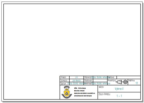 Otevřete si vytvořenou šablonu, kterou jste vytvořili podle návodu Editace popisového pole #2 a nastavte formát listu podle potřeby vnašem případě na A4 – List