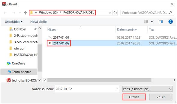 V adresáři C:\PASTORKOVÁ HŘÍDEL vyberte model ozubeného kola 2017-01-02 a díl otevřete