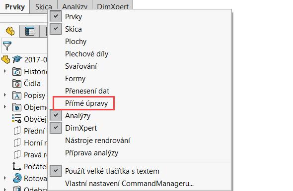 Pro výběr příkazů pro přesunutí těl a jejich sloučení musíte mít zobrazenou záložku Přímé úpravy. Pravým tlačítkem klikněte kamkoliv do šedé lišty CommandManageru a místní nabídky vyberte Přímé úpravy