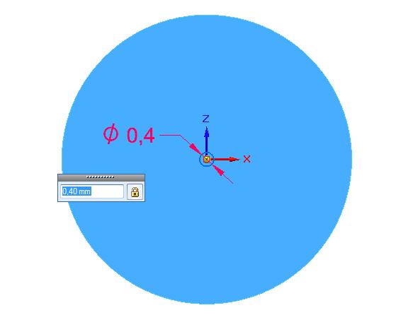 Zvolte příkaz Kružnice středem a vytvořte kružnici o průměru 0,4 mm na vytvořenou rovinu