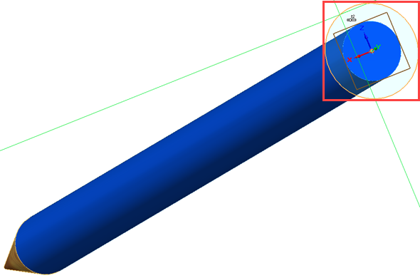 Nakreslete kružnici většího průměru než tělo tužky na konci tělesa