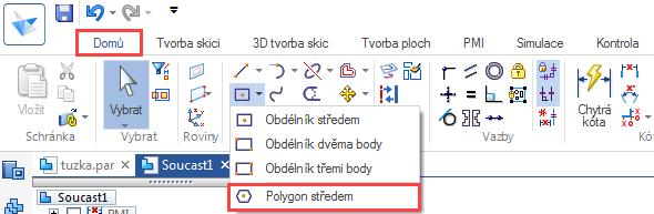 Ze záložky Domů → Kreslit vyberte příkaz Polygon středem
