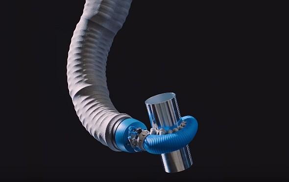 Robot spolupracující slidmi (kobot) inspirovaný chapadlem chobotnice uchopí předmět sdokonalým tvarovým stykem. Foto: Festo
