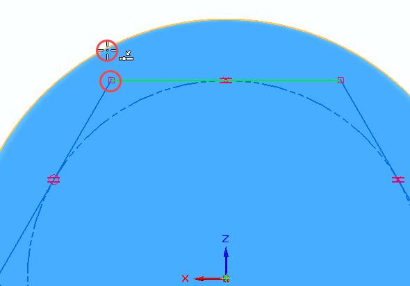 Klikněte na bod označený červeným kroužkem a poté klikněte na kružnici, tím vepíšete polygon do těla tužky