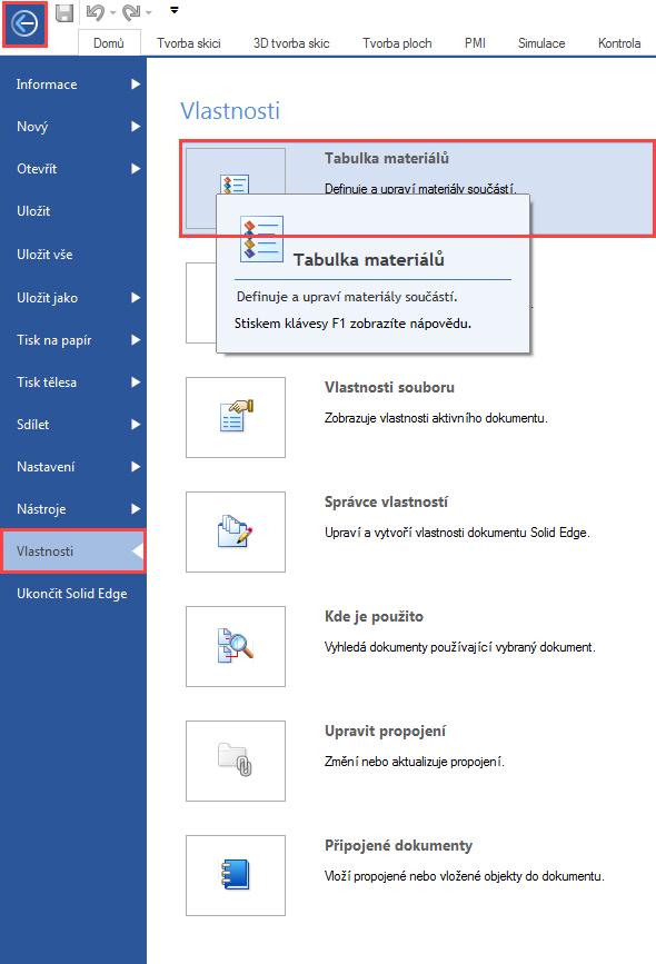 Vyberte příkaz Tabulka materiálů prostřednictvím Tlačítka aplikace → Vlastnosti