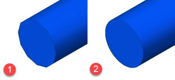 Všimněte si výrazných rozdílů v plynulosti oblouků (hran na oblouku, který se graficky znázorňuje jako mnohoúhelník)