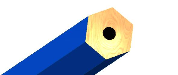 Plochy obarvěte, tím vznikne tuha na konci tužky