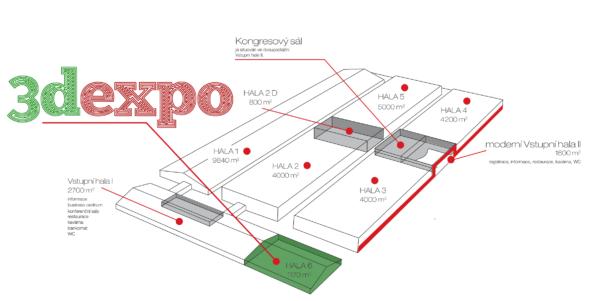 Letošní 3DExpo se bude konat vsamostatné Hale 6, která je přístupná ze Vstupní haly I nebo Haly3. Foto: 3DExpo.cz