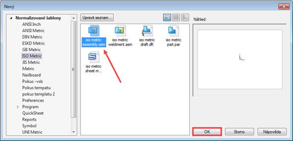 Založte nový dokument sestavy iso metric assembly.ASM