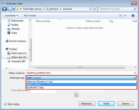 Soubor můžete uložit do tří formátů: AVI, WMV nebo BIP.