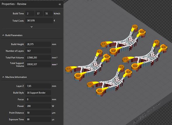 Vlevé části obrazovky se po výpočtu zobrazí report sodhadovanou dobou stavby, přibližnou cenou výroby, výškou stavby, počtem vrstev a spotřebovaným objemem práškového kovu na 3D tisk součásti a podpor. Ve spodní části jsou pak uvedeny procesní parametry 3D tisku
