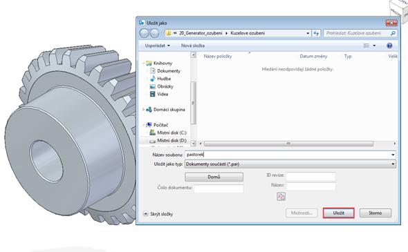 První se vytvoří pastorek a po jeho vložení do grafického okna řešení Solid Edge automaticky nabídne výzvu kuložení souboru (okno Uložit jako). Klikněte na Uložit