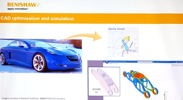 Společnost Renishaw zahájila spolupráci s Dassault Systèmes. Jako první si vyzkoušeli topologickou optimalizaci vahadla v řešení Simulia. Foto: Marek Pagáč
