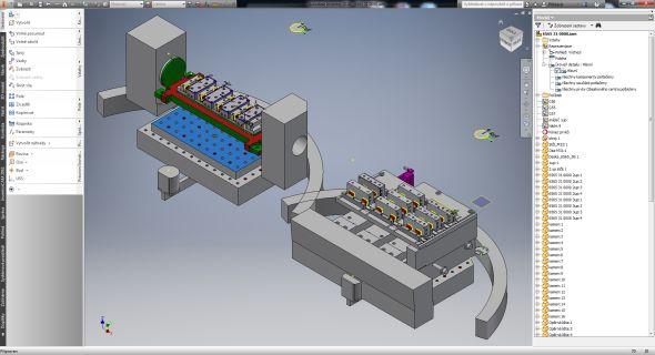 Výhodou počítačové podporyvInventoru a InventorCAMu je odhalení kolizí a simulace procesu obrábění včetně rozložení polotovarů na paletě