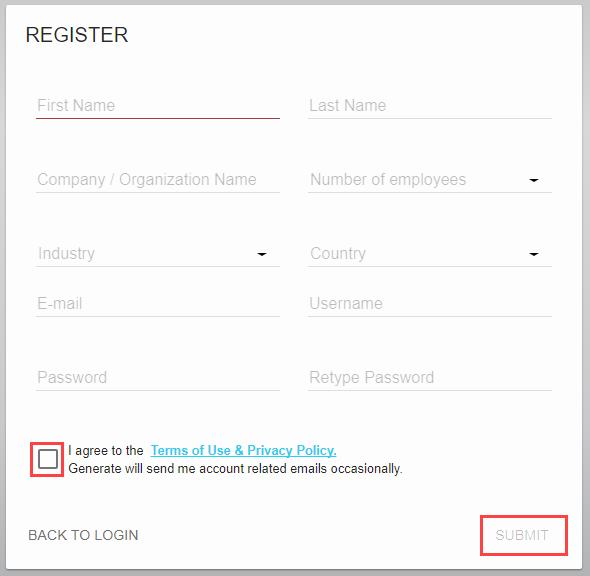Vyplňte registrační formulář, potvrďte smluvní podmínky a zvolte Submit