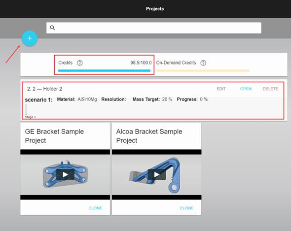 Jakmile se úspěšně zaregistrujete a přihlásíte, objeví se obrazovka saktuálním souhrnem projektů a kreditů, které máte kdispozici. Na této stránce se zakládají nové projekty (označeno šipkou)