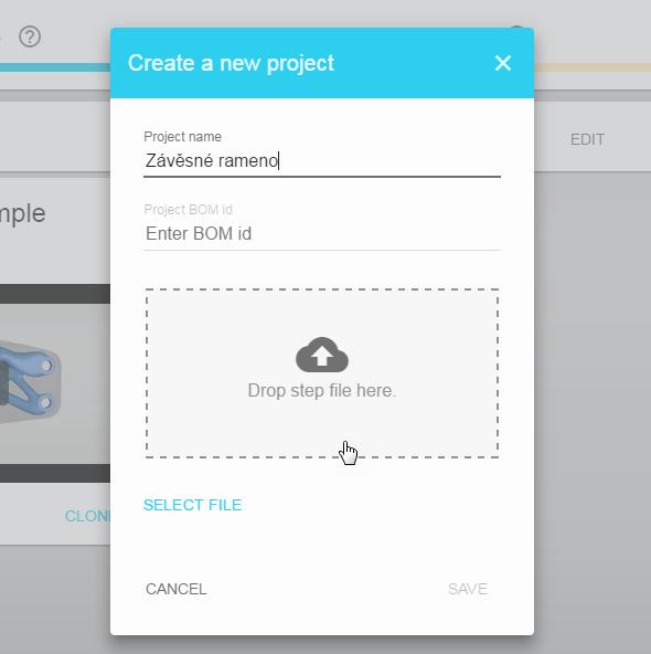 Pojmenujte projekt a nahrajte soubor ve formátu STEP