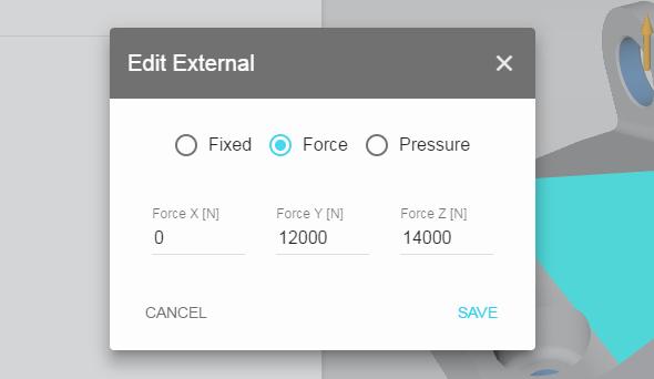 Zvolte Force pro nastavení orientace a velikosti síly. Stejným způsobem pokračujte u všech otvorů, pokud otvor namáhán nebude zvolte možnost Fixed