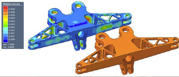 Simulace relativní hustoty u dílu po vytažení zkomory vporovnání sdílem zpracovaným izostatickým lisováním za tepla. Obrázek: MSC Software
