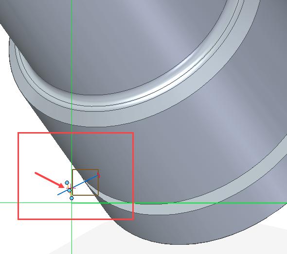 Vyberte příkaz Čára ze záložky Domů → Kreslit a uzamkněte si rovinu. Příkazem Pohled skici se umístěte na správnou rovinu a nakreslete kolmou čáru