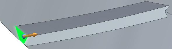 Neodřezané plošky odstraníte pouhým kliknutím na plochu, zvolením šipky a táhnutím směrem dolů nebo nahoru