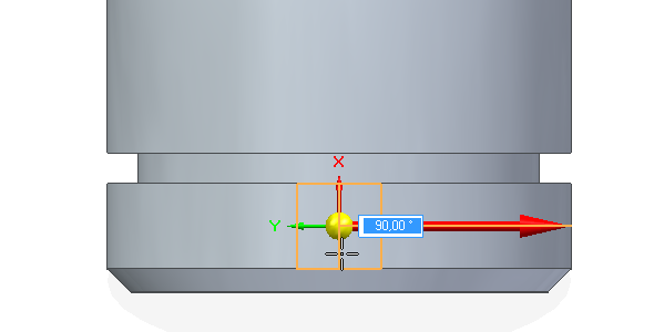 Klikněte na válcovou plochu a potvrďte levým tlačítkem, tím se vytvoří nová rovina (Vroubkování)