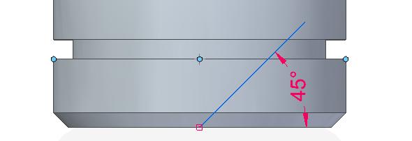 Nakreslete čáru pod úhlem 45 stupňů od osy rotace tělesa