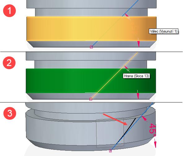 Vyberte válcovou plochu a potvrďte pravým tlačítkem (obrázek 1). Pokračujte výběrem křivky (obrázek 2) a opět potvrďte pravým tlačítkem. Na obrázku 3 vidíte již promítnutou křivku