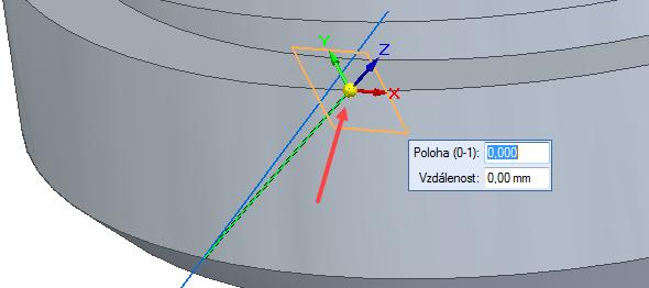 Rovinu orientujte na koncový bod křivky a potvrďte pravým tlačítkem