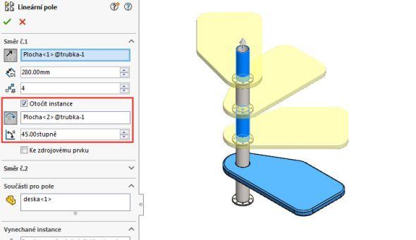Tipy a návody pro SolidWorks: Jak nastavit lineární pole s rotací